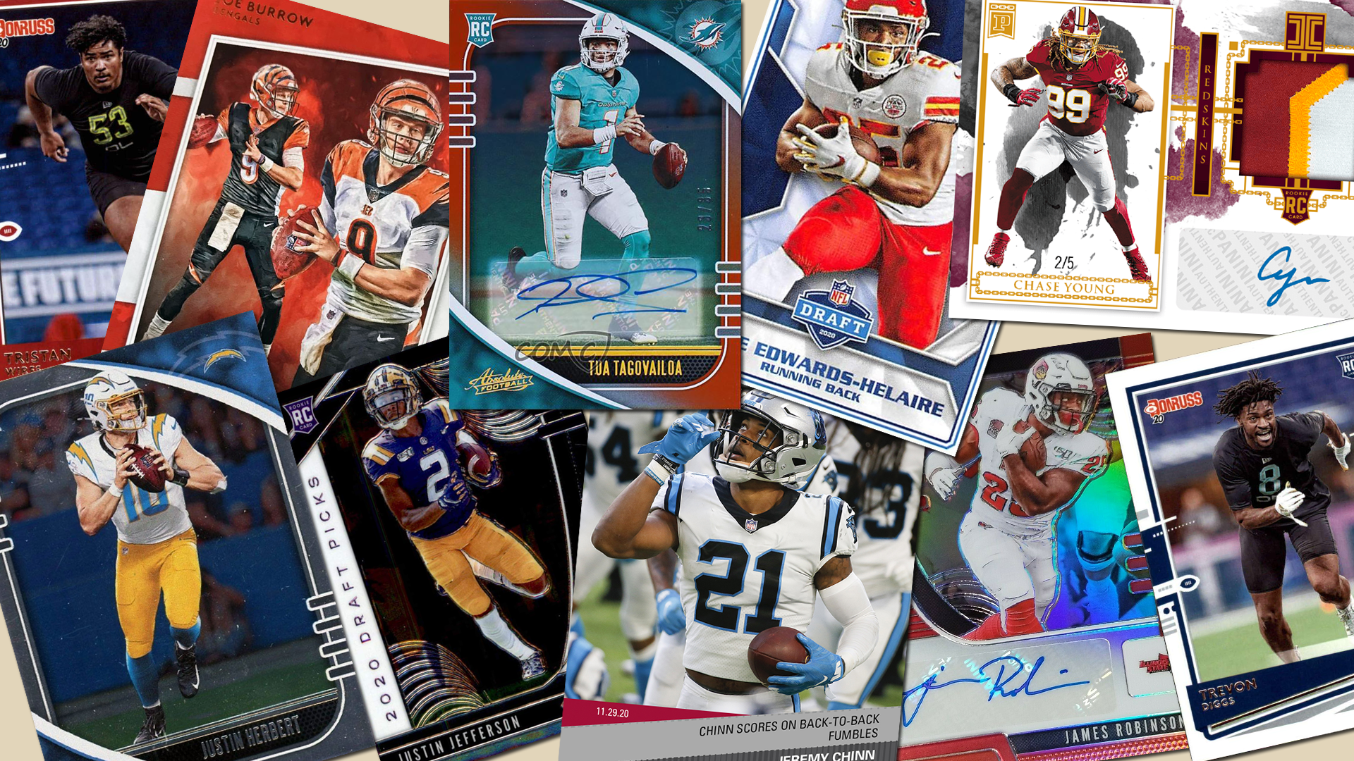 10 football cards scattered across the table top featuring the top rookies